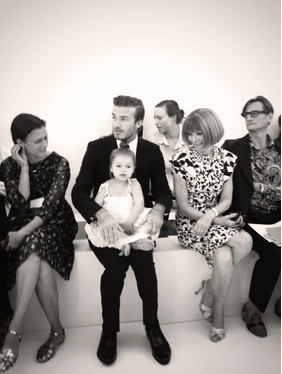 Adorable Harper (and her handsome daddy and Anna Wintour from Vogue) www.facebook.com/victoriabeckham